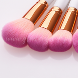 12 Pieces Creamy Bright Pink Makeup Brush Set