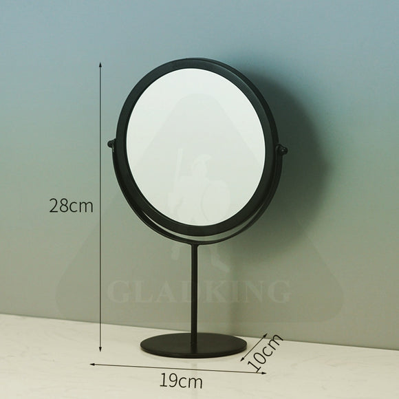 Black Metal Frame Round Mirror