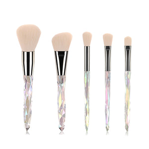 5 Pieces Crystal White Makeup Brush Set