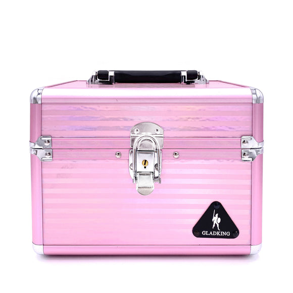 Delicate Laser Stripe Layered Makeup Box w/ Mirror