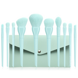10 Pieces Summer Blue Make up Brushes w/ Pouch