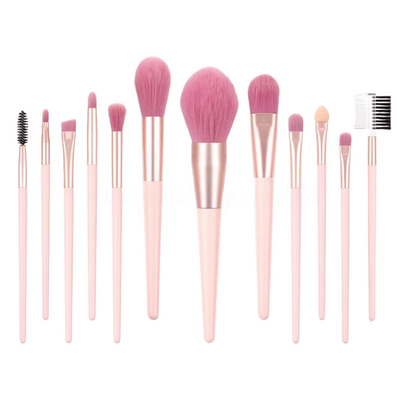 12 Pieces Rose Pink Bristle Makeup Brush Set
