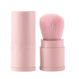 Portable Round Powder Kabuki Brush Crepe Pink w/ cap