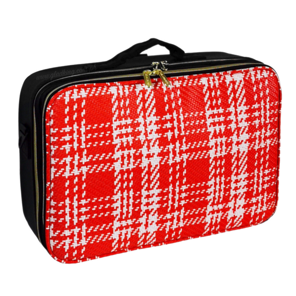 2 Zipper Large Red Woven Leather Makeup Organizer