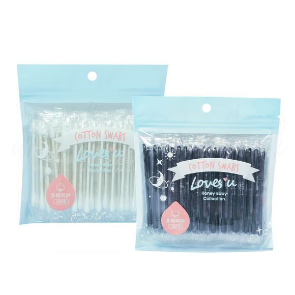 Love U Collection Cotton Swabs Individual Packed 100 Pieces