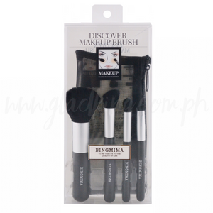 4 in 1 Silver Black Brush set with pouch