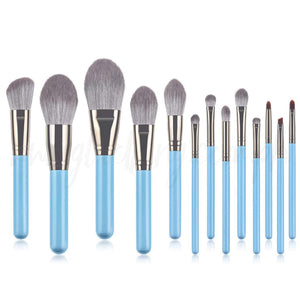 13pcs Sky Blue Grey Makeup Brush Set