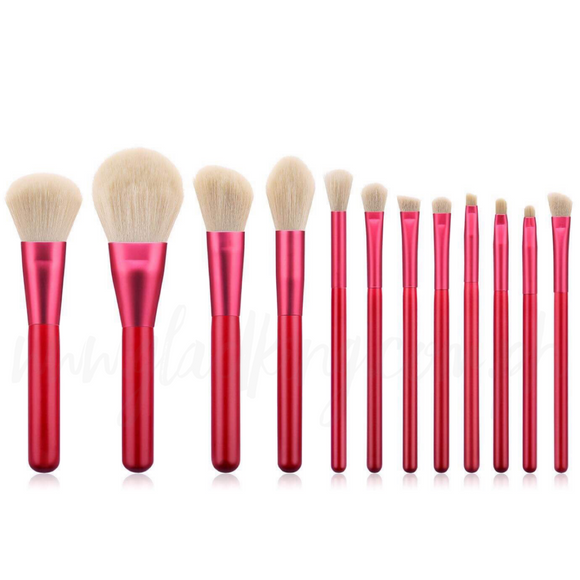 Make up brush set with Floral Red Pouch