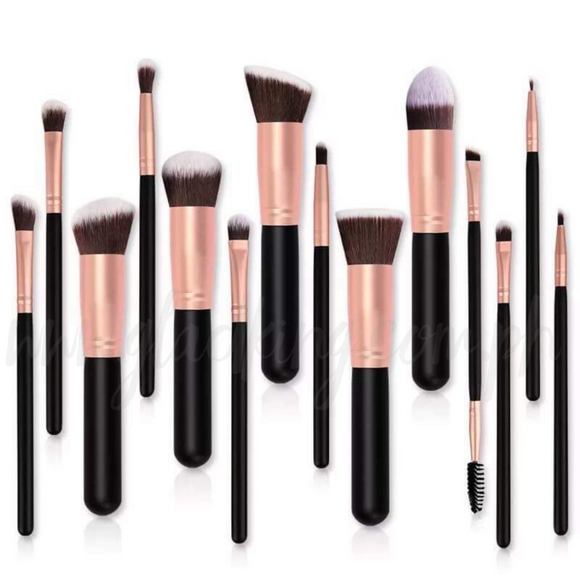 14 in 1 Matte Bronze Make up brush set