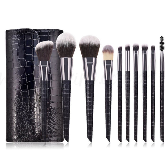 10 pcs Make up Brush Set w/ pouch Crocodile Skin Style