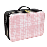 2 Zipper Large Pink Woven Leather Makeup Organizer