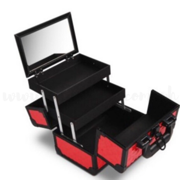 Portable Makeup Box with Mirror & Vertical Layers Diamond Red