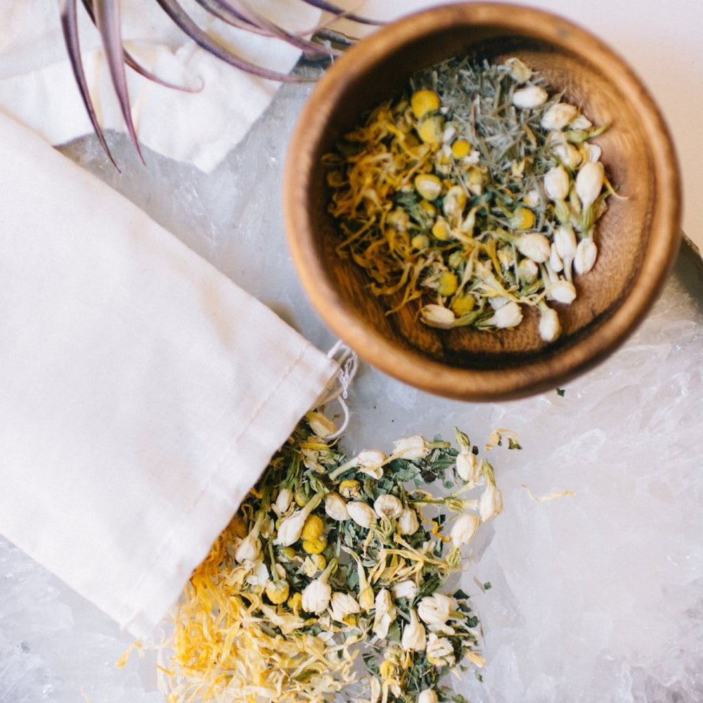 bath herbs with muslin bag