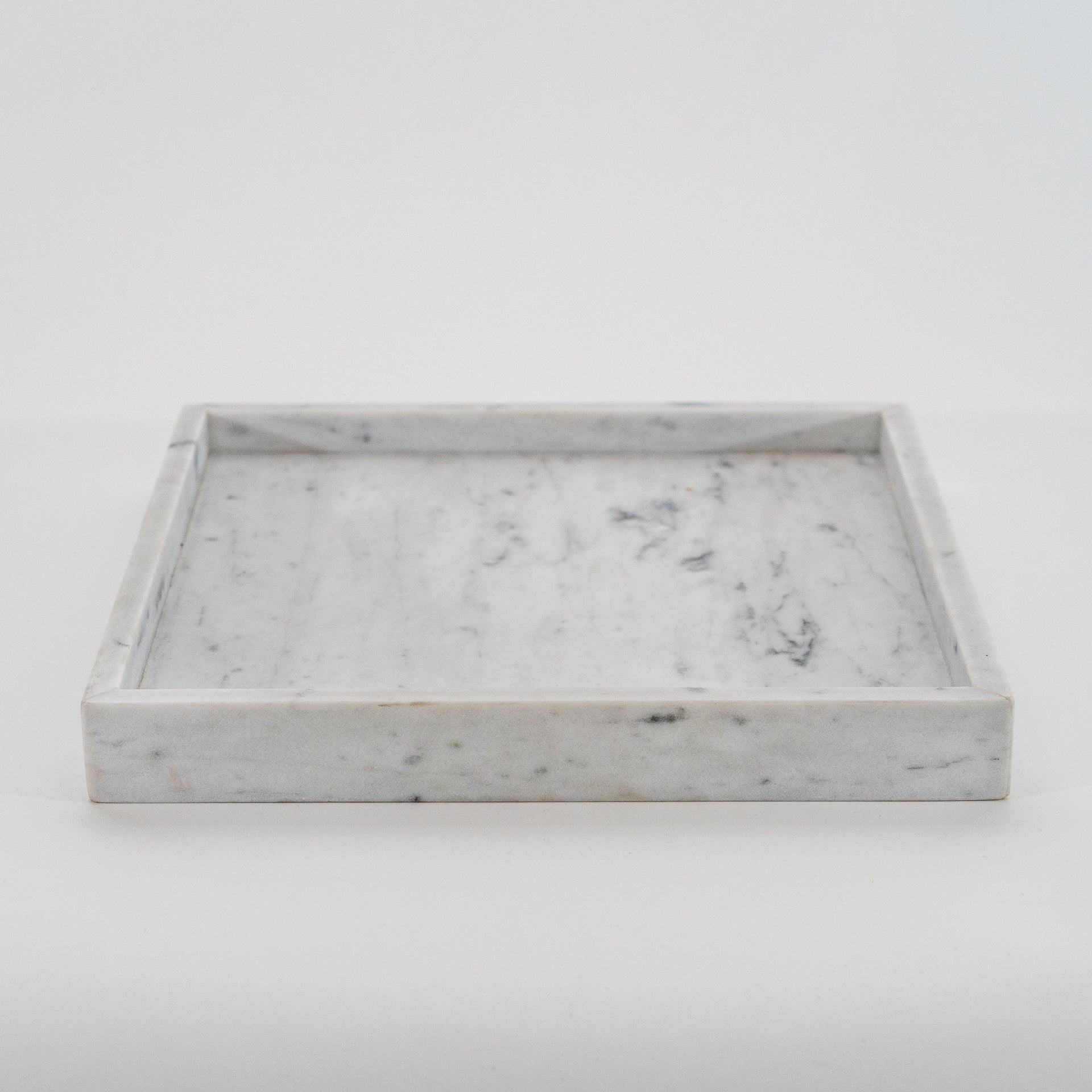 Contemporary White Marble Square Tray Round Marble Candle Jar Scarlet Park Home Decor