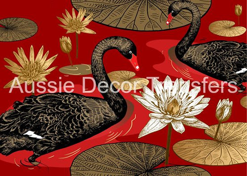 Black Swans on Red Decoupage Poster