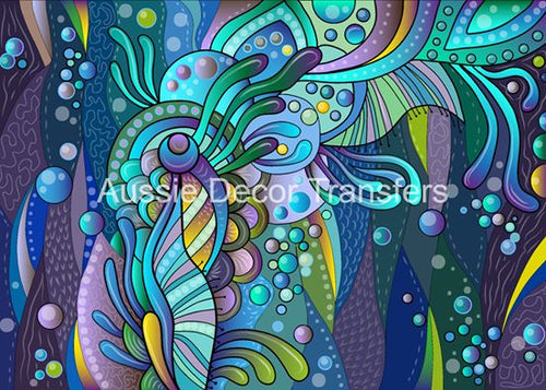 Abstract Aquatic Elements Decoupage Poster