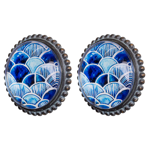 Pewter Knob/Glass-MDK040-Indigo