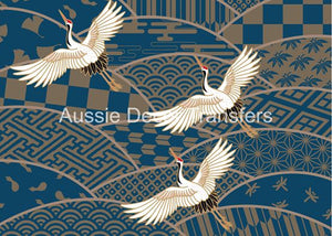 Three Japanese Cranes in Flight Decoupage Poster