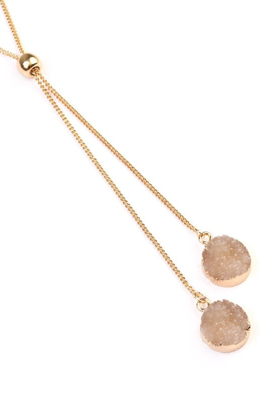 Druzy Slide Necklace-Natural - Bellamie Boutique