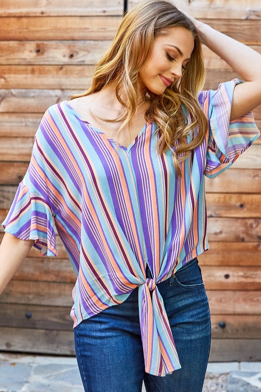 Multi Stripe Tie Top - Bellamie Boutique