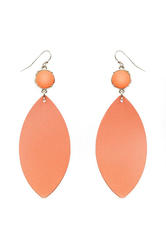 Coral Druzy Leather Earrings - Bellamie Boutique