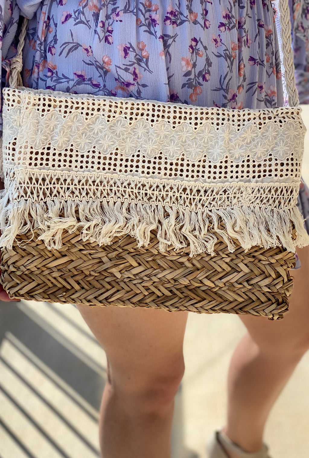 Straw Tassel Crossbody - Bellamie Boutique