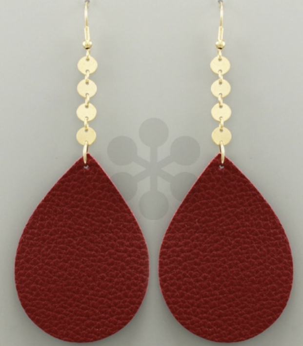 Maroon Leather Drop Earrings - Bellamie Boutique