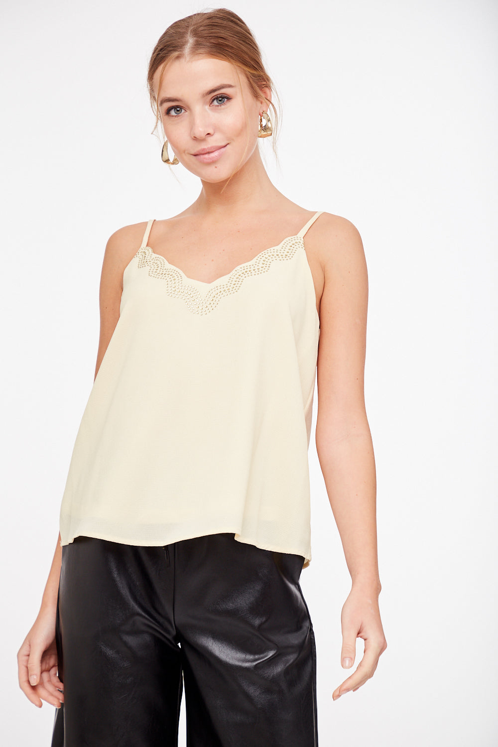 Ivory Stud Detail Cami - Bellamie Boutique