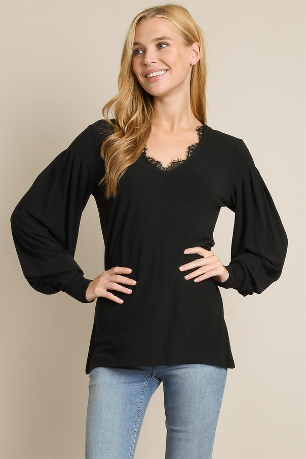 Black Lace Trim Sweater - Bellamie Boutique