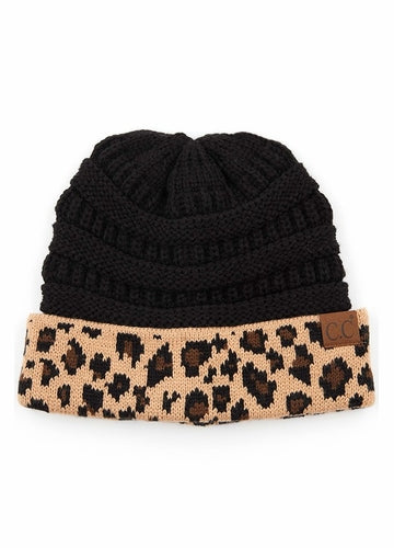 Black CC Leopard Beanie - Bellamie Boutique
