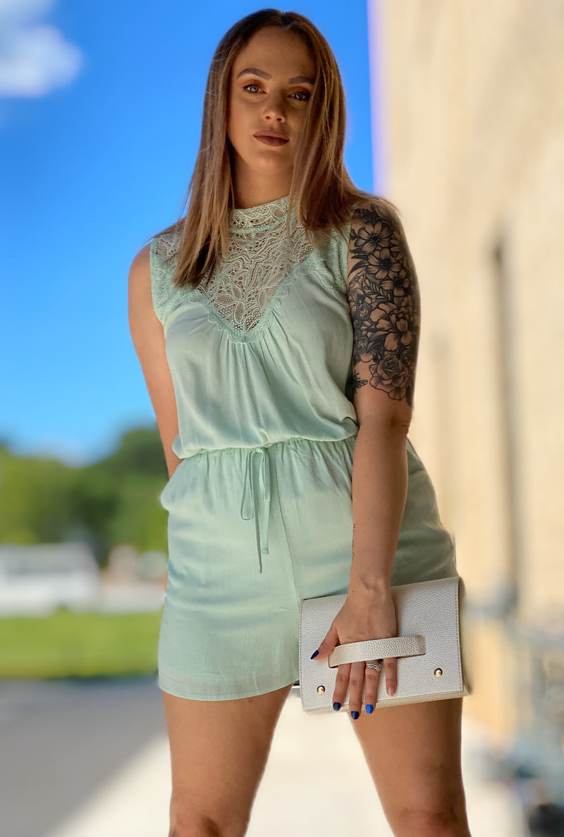 Victoria Romper-Mint - Bellamie Boutique