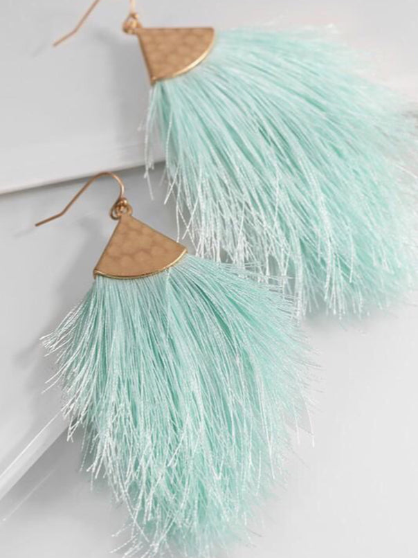 Mint Feather Earrings - Bellamie Boutique