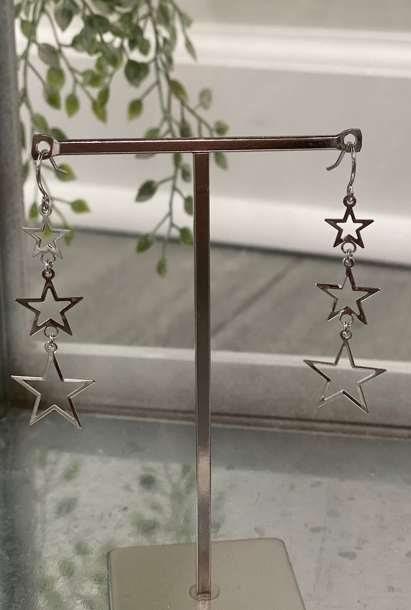 Silver Star Linked Earrings