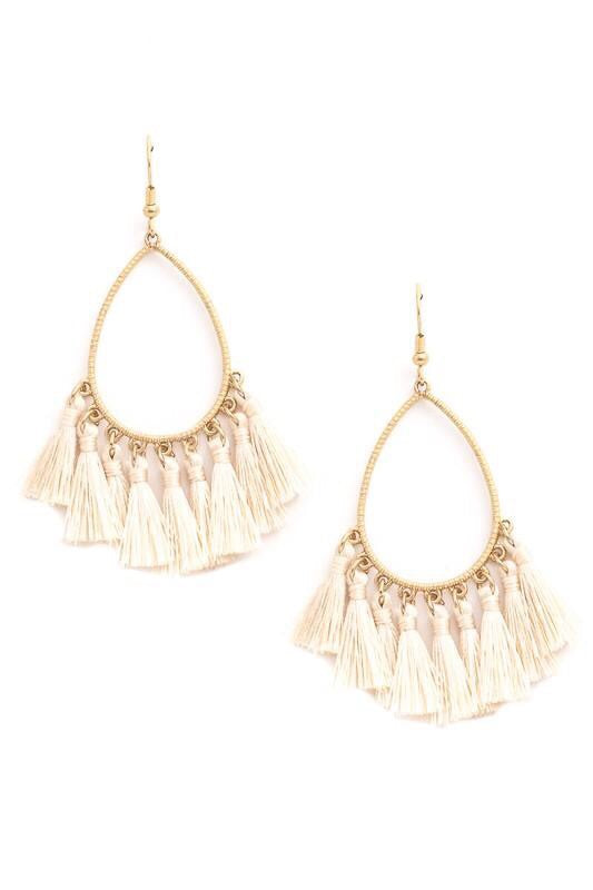 Ivory Tassel Earrings - Bellamie Boutique