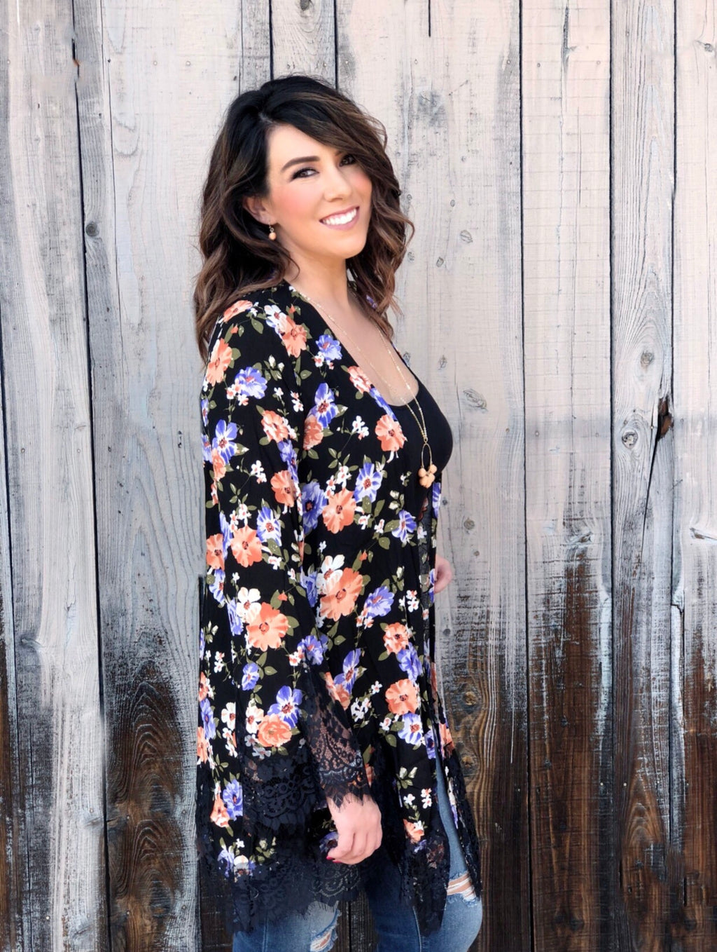 Lace Wrapped Garden Kimono - Bellamie Boutique