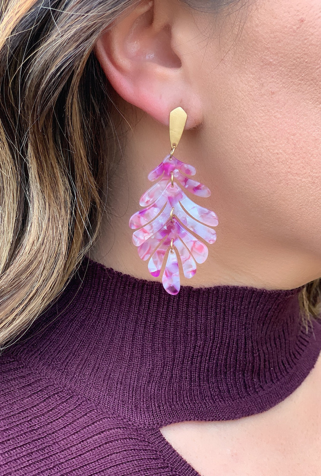 Acrylic Purple Leaf Earrings