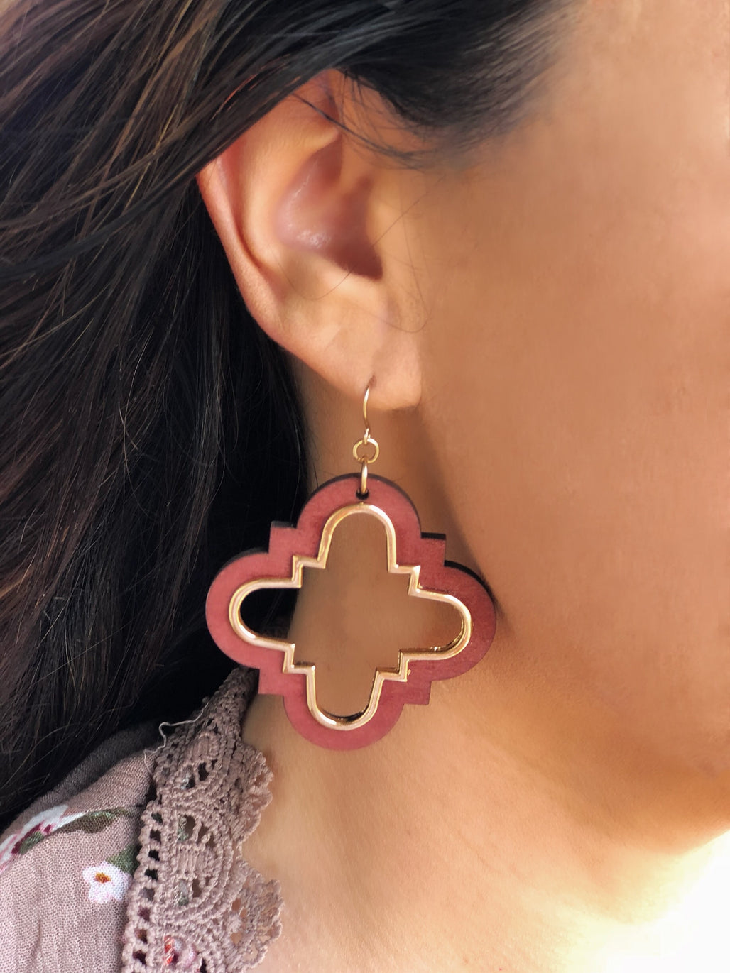 Wood Earrings-Wine - Bellamie Boutique