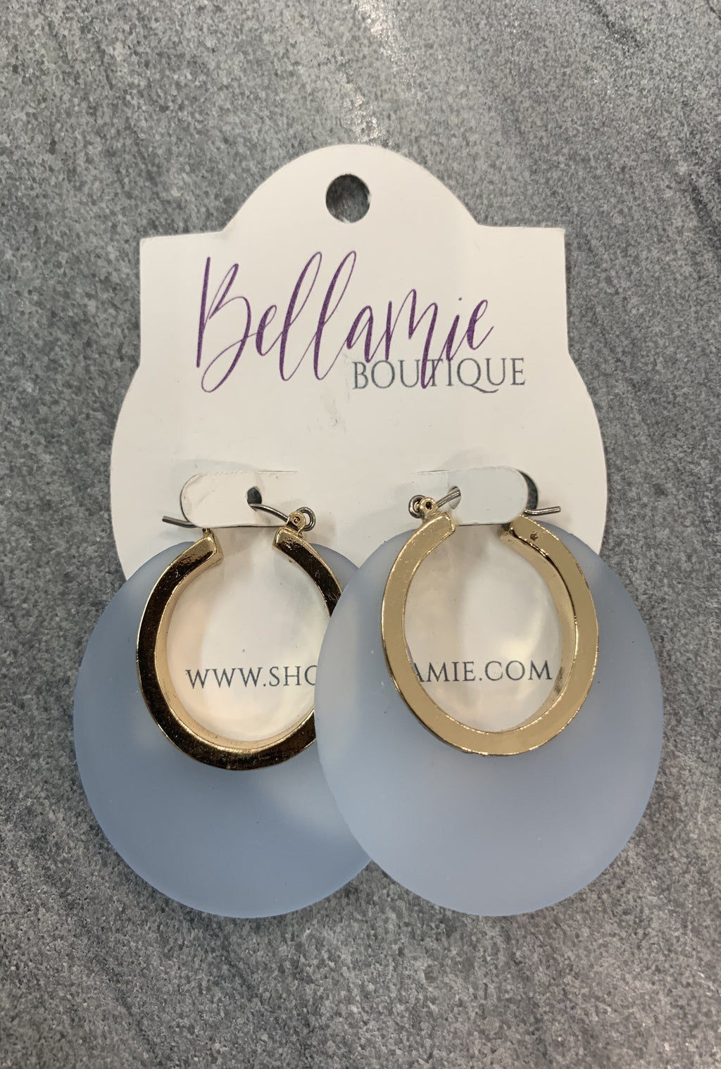Blue Acrylic Hoop Earrings - Bellamie Boutique