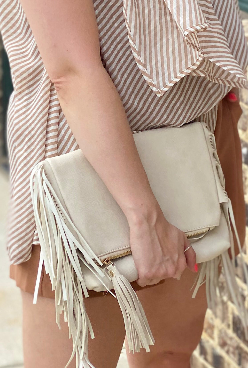 Ivory Fringe Crossbody - Bellamie Boutique