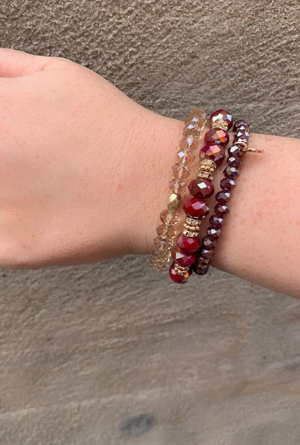 Burgundy Bead Stack - Bellamie Boutique