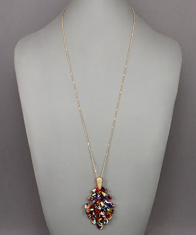 Acrylic Multicolor Leaf Necklace - Bellamie Boutique