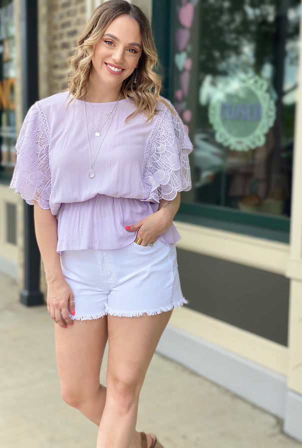 Lily Lace Sleeve Top - Bellamie Boutique