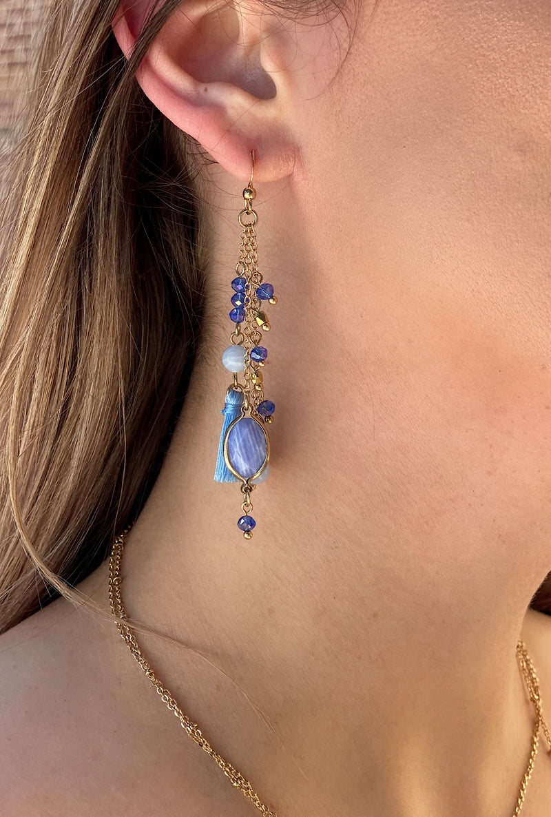 Blue Waterfall Tassel Earring