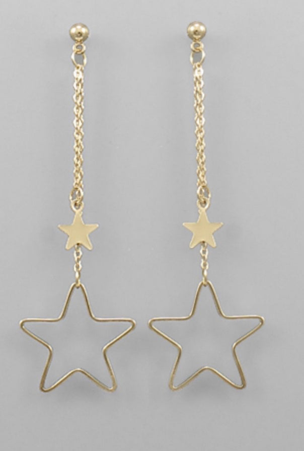 Gold Star Dangle Earrings
