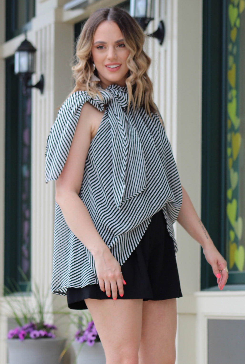 Alice Striped Tie Top - Bellamie Boutique