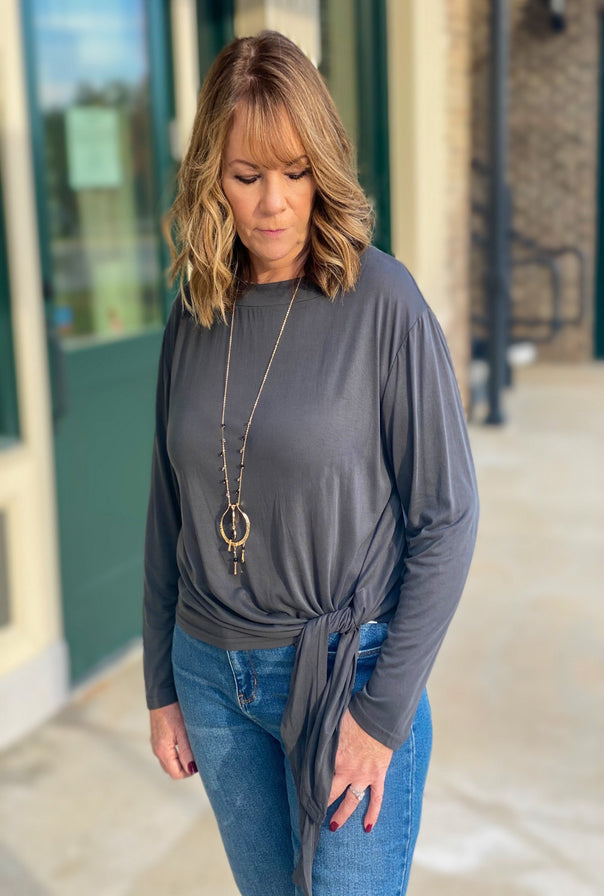 Marla Top-Grey - Bellamie Boutique
