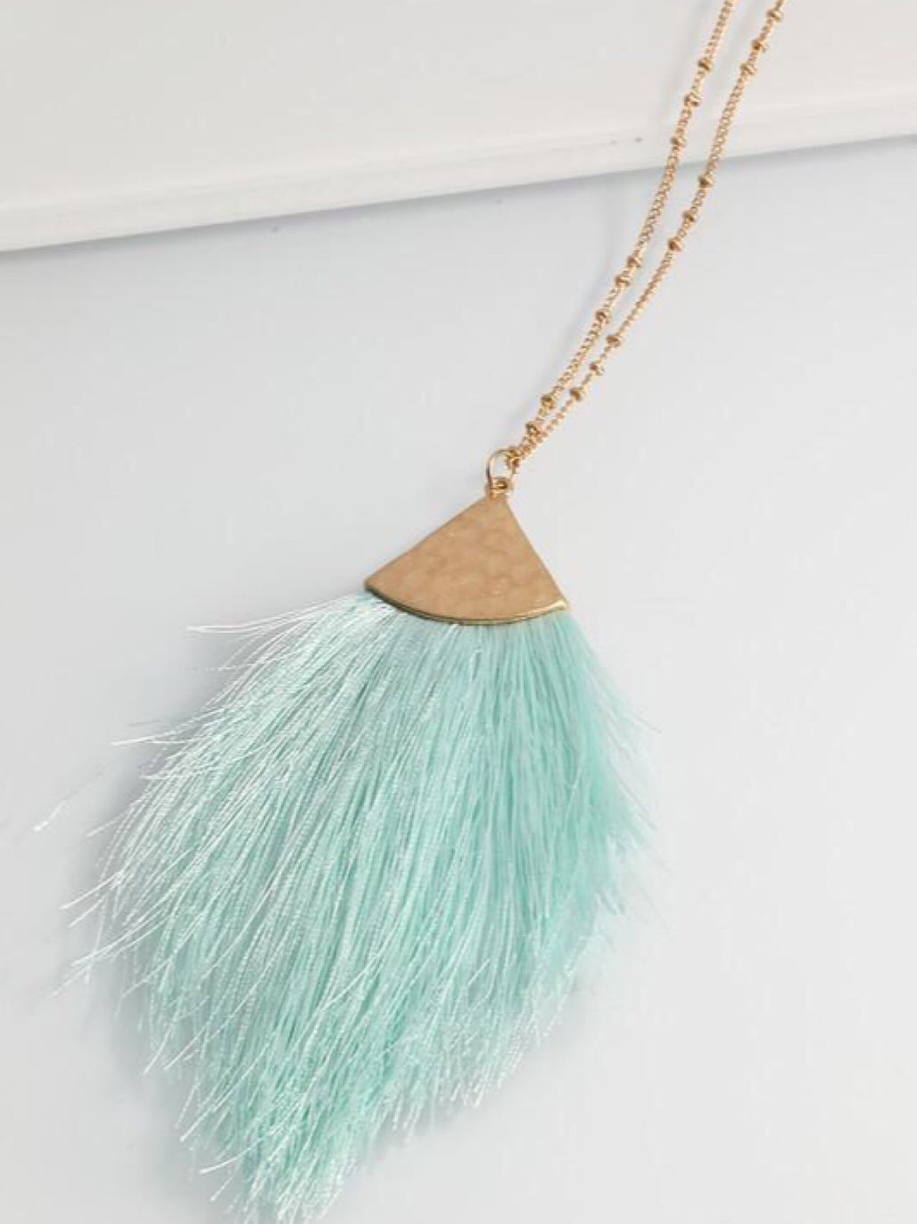 Mint Feather Necklace - Bellamie Boutique
