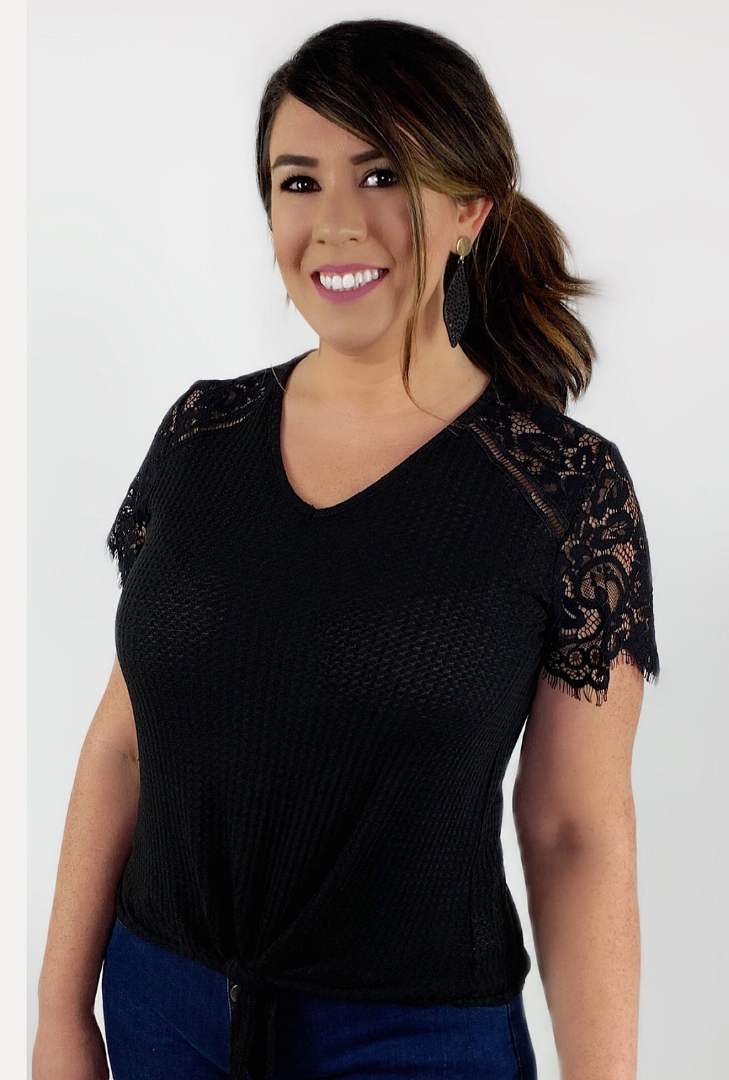 Lace Tie Top - Bellamie Boutique