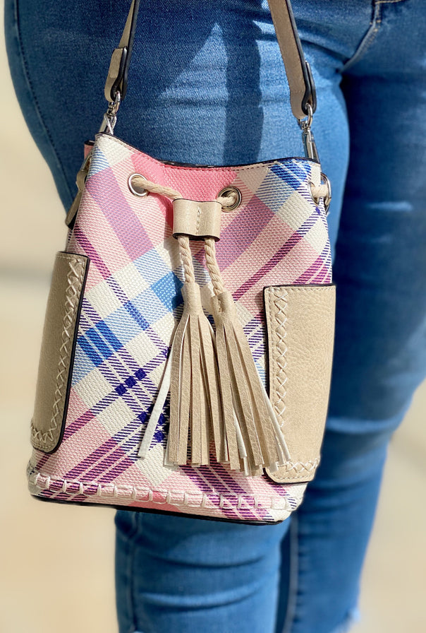 Pink Plaid Bucket Bag