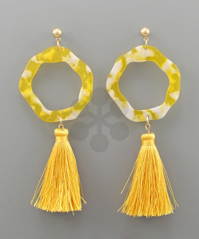 Yellow Acrylic Tassel Earrings - Bellamie Boutique